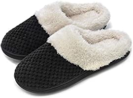 Women's Comfort Coral Fleece Memory Foam Slippers Plush Lining Slip-on Clog House Shoes for Indoor & Outdoor Use (Small / 5-6 B(M) US, Gray)