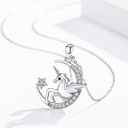 TRISHULA Lovely Unicorn Necklace Moon Pendant Necklace Jewelry Gift for Women