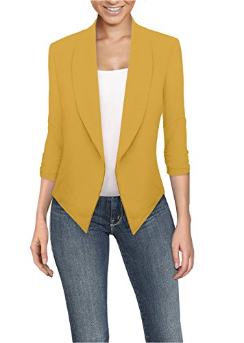 Womens Casual Work Office Open Front Blazer JK1133 Mustard L