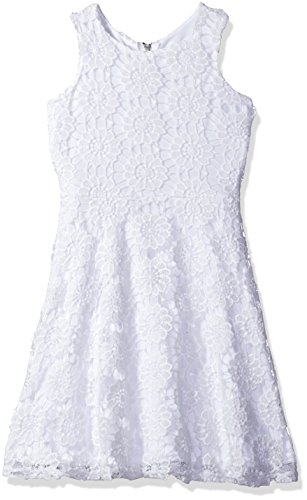 Blush by Us Angels Big Girls Printed Floral Lace Dress Fir N Flare Style, White, 14 White Angels Dress