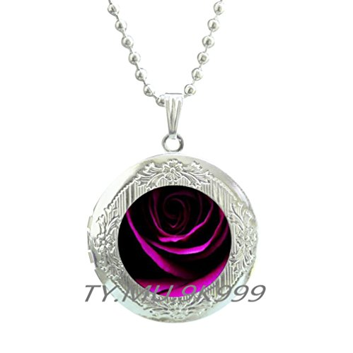 Yao0dianxku Red rose Locket Necklace, Rose Locket Pendant, Red flower Locket Necklace, Tiny flower Locket Pendant, Red rose jewelry, Romantic Locket Necklace, Rose cameo Locket Necklace.Y159 ()