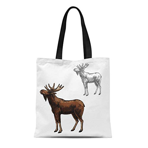 Semtomn Canvas Bag Resuable Tote Grocery Adorable Shopping Portablebags Elk Wild Animal Sketch Side View Wapiti Mammal Deer Moose Species for Wildlife Natural 14 x 16 Inches Canvas Cloth Tote Bag