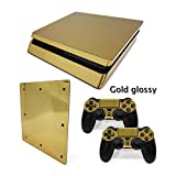 MightyStickers - Gold Glossy Plating PS4 Slim Console Wrap Cover Skins Vinyl Sticker Decal Protective for Sony PlayStation 4 Slim & Controller