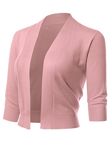 ARC Studio Women's Classic 3/4 Sleeve Open Front Cropped Cardigans, Dusty Pink, Large