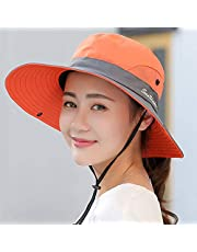 Sincrystal Women Outdoor UV Protection Cap Foldable Mesh Wide Brim Summer Beach Fishing Hat