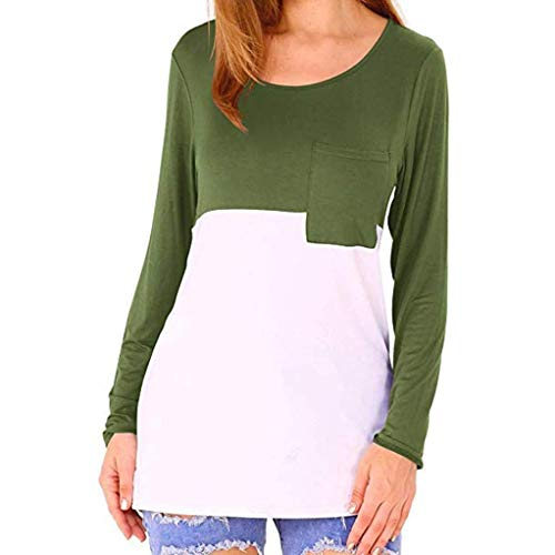 (liberalism Blouse Fall Winter Color Block T-Shirts Scoop Neck Long Sleeve Casual Pocket Women's Medium)