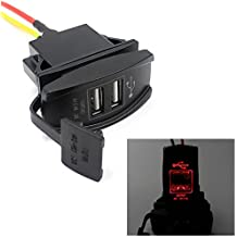 Usstore Car 12V 24V To 5V Car Auto Boat Accessory LED Dual USB Charger Power Adapter Applicable Models Cross bike scooters cars Truck Boat etc (Red)