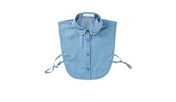 Blusa de Mezclilla Desmontable Hecha a Mano Azul Claro con ...