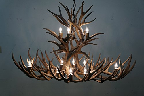Real Shed Mule Deer Antler Chandelier, Oval shape W/ Extra Uprights and Two Tier cascade Lighting. 12 Lights. Elegant Handmade, Rustic Antler Art. With real Elk antler covers. (Antler Chandelier 12 Elk)