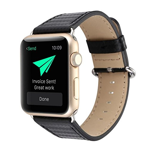 BETTERUU Carbon Fiber Leather Strap Replacement Watch Band for Apple Watch 38mm 42mm (Black, 42MM)