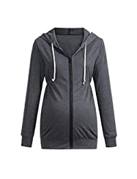 Maternity Hoodies, Womens Full Zip Long Sleeve Solid Color Sweatshirts Maternity Clothes