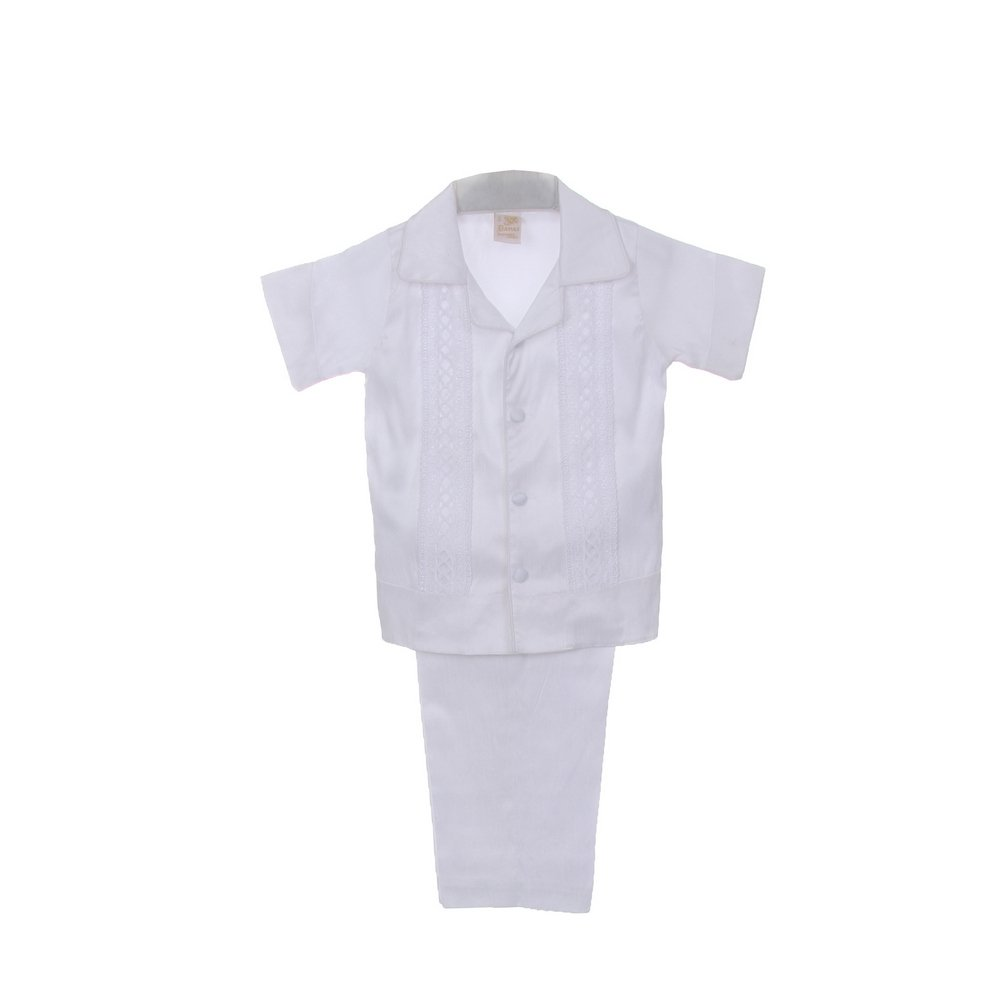 235955718cd8 Amazon.com  Rain Kids Baby Boys White Shantung Silk Guayavera Shirt ...