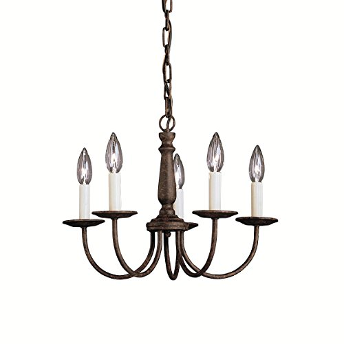 Tannery Bronze Single Light (Tannery Bronze Single-Tier Mini Chandelier with 5 Lights - 72in. Chain Included - 18 Inches Wide)
