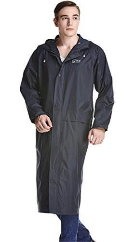 Liveinu Adult Lightweight PVC Long Size Hooded Raincoat Dark Blue S