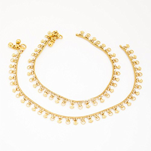 - Duel on Jewel Ethnic Pakistani Indian Gold Plated Bridal Payal Anklet Pair with Soft Bells For Women Ethnic Jewelry