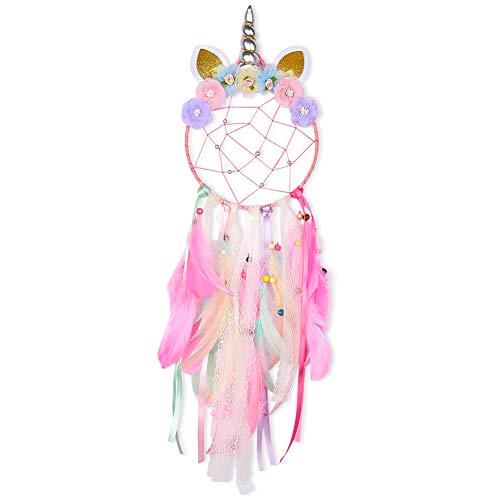 Beinou Unicorn Dream Catcher Colorful Feather Dream Catchers Handmade Flowers Dream Catchers Wall Hanging Dream Catcher…