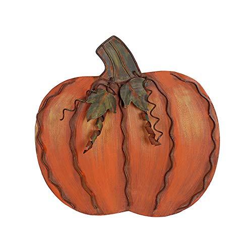 YK Decor Metal Pumpkin Harvest Fall Decor Thanksgiving Halloween Outdoor Yard Garden Decor Free Standing Pumpkin Decorations for Home (H-11.75