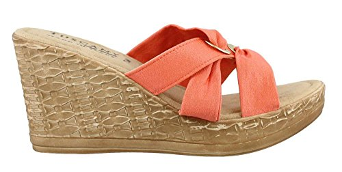 Solaro High Heel Wedge Sandal Coral 10 M (Coral Dress Shoes)
