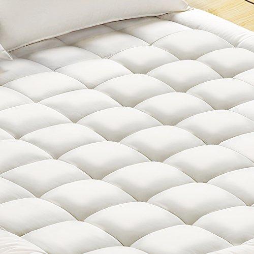 Cotton Filled Mattress Topper - Mattress Pad Cover, 100% Cotton Fabric, Microfiber Filled, Soft, Hypoallergenic, Mattress Topper with Deep Pocket(Queen,Basic)
