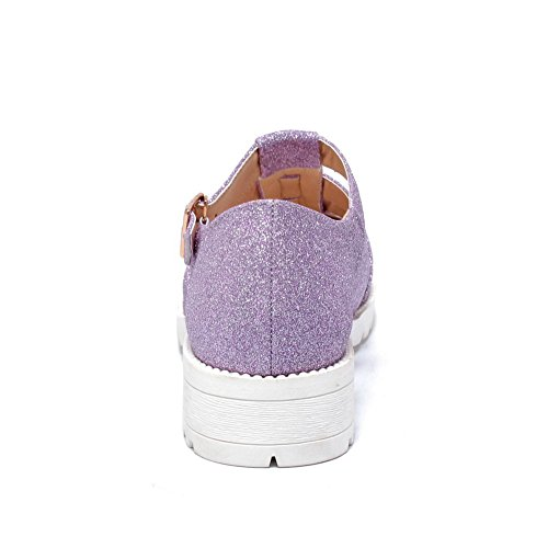 Solid Heels AmoonyFashion Shoes Toe Closed Round Buckle Womens Purple Pumps Frosted Low 8BqxB1OUw