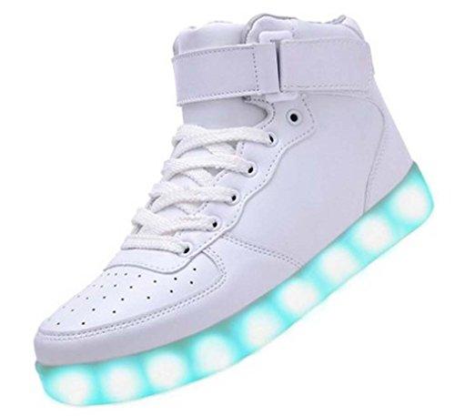 Littlepanda Männer Frauen High Top USB Lade LED Schuhe Blinkende Turnschuhe  Weiß