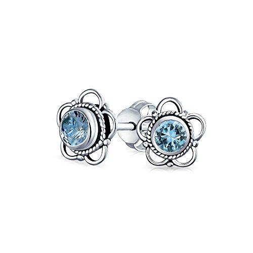 Bling Jewelry Boucles d'oreille style solitaire coloré haute qualité et design arrondi en Argent