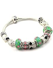 Silver 925 European Charm Bracelet Bangle for Women with Murano Glass Beads Love DIY Jewelry PA1019