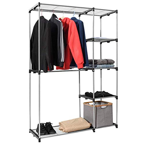 Tangkula Closet Double Rod Freestanding Heavy Duty Steel Frame Multi-Shelves Organizer Garment Rack Portable Clothes Hanger Storage Rack Home Washroom Storage Organizer
