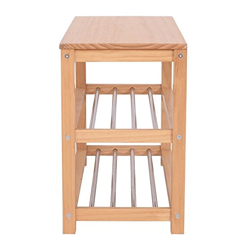 MyEasyShopping 3-Tier Wooden Shoe Rack Storage Bench, Wood Wooden Closet Entry Bathroom Kitchen Shoes Shelf Natural Color, Shoe Wood Rack Storage Bench Closet Bathroom Kitchen Entry by MyEasyShopping (Image #1)
