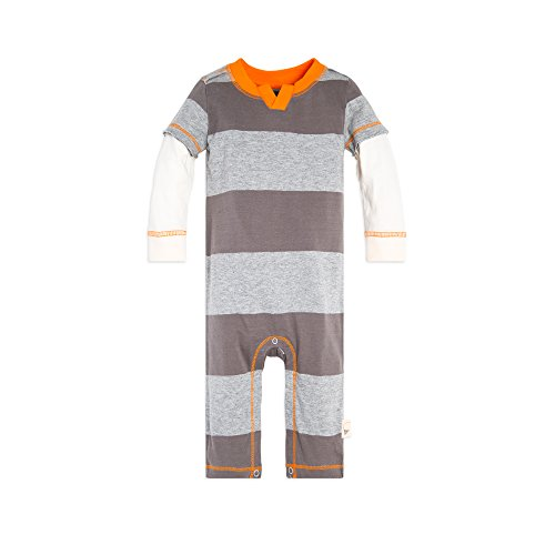 s' Romper Jumpsuit, 100% Organic Cotton One-Piece Coverall, Charcoal Rugby Stripe, 3-6 Months ()
