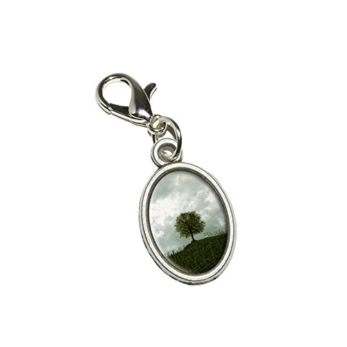 Lone Lobster (Graphics and More Lone Tree on the Hill - Vineyard Antiqued Bracelet Pendant Zipper Pull Oval Charm with Lobster Clasp)