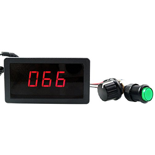 uniquegoods 6V 12V 24V Digital Display LED DC Motor Speed Controller PWM Stepless Speed Control Switch HHO Driver - Black CCM5D