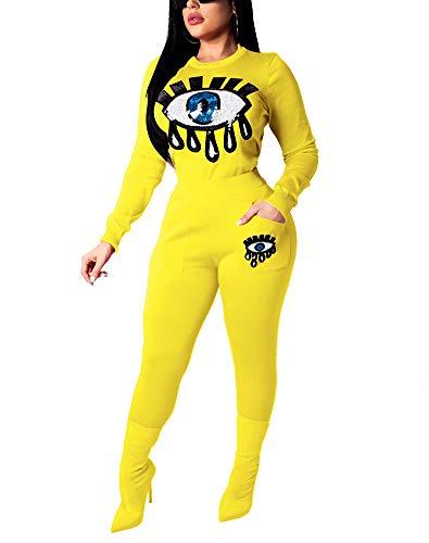 DingAng Womens Glitter Sequin 2 Piece Outftis Long Sleeve Sweatshirt + Bodycon Pants Set Tracksuit Yellow L