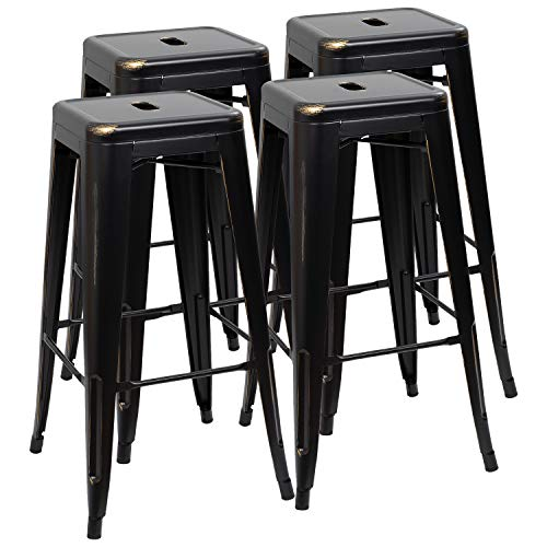 Furmax 30 Inches Metal Bar Stools High Backless Stools Indoor-Outdoor Stackable Kitchen Stools Set of 4(Black Gold) (High Set Gold)