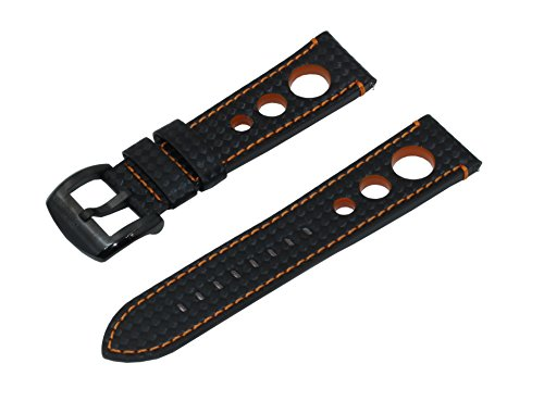 SWISS REIMAGINED Quick Release Leather Watch Band Carbon Fiber Embossed Racing Rally Style Genuine Leather Replacement Watch Strap with Brushed Black Stainless Steel Buckle - Black & Orange - 22mm (Band Leather Numbers Black)