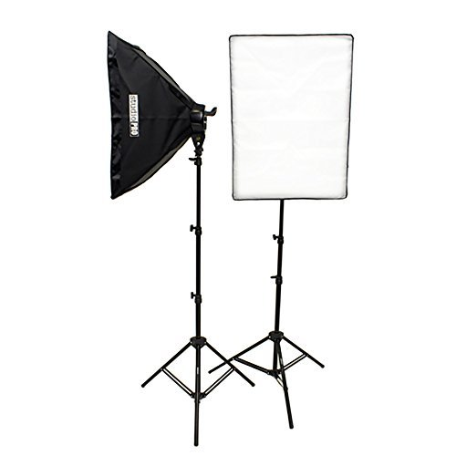 Fovitec  StudioPRO – 2x 20″ x 28″ Softbox Lighting Kit w/ 2000 W Total Output – [Classic][Includes Stands, Softboxes, Socket Heads, 10x 45W Bulbs]