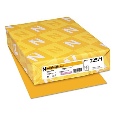 Neenah Paper Color Paper, 24lb, 8 1/2 x 11, Galaxy Gold, 500 Sheets (2 Reams) by Astrobrights
