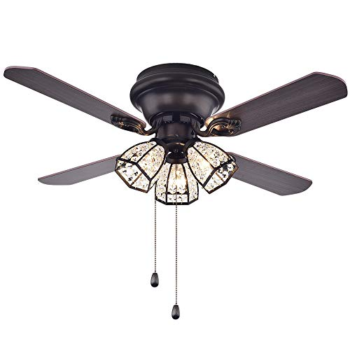 (Flush Mount Ceiling Fan With 3 Crystal Light For Home Decotation Bedroom 42 Inch Brown Pull Chain,MORPHOLIFE)