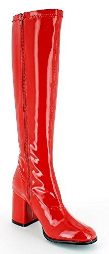 Gogo Damen Retro Lackstiefel - Tolle Schuhe zur 70er 80er Jahre Disco Hippie Mottoparty - SCHMALER SCHAFT Rot