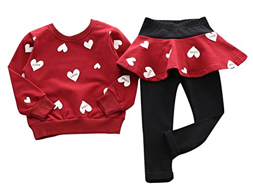 BomDeals Adorable Cute Toddler Baby Girls Clothes Set,Long Sleeve T-Shirt +Pants Outfit (Age(2T), Red)
