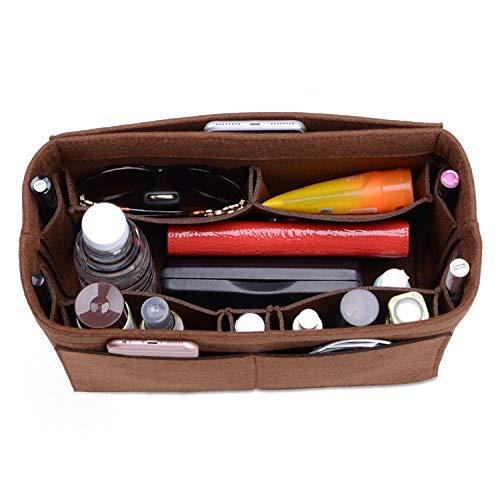 (CEEWA Felt Purse Organizer, Multi Pocket Bag in Bag Organizer For Tote & Handbag Shaper, Speedy 30, Speedy 35 and Speedy 40, Medium, Large, Extra Large (Medium, Coffee))