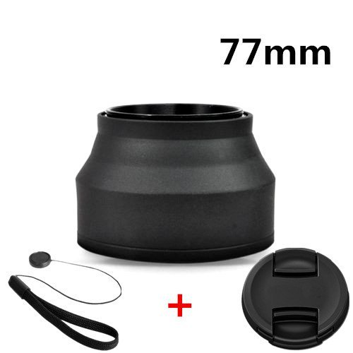 LAMZIX 77mm Rubber 3in1 Collapsible Lens Hood for Sony Canon Nikon Pentax+Free Lens Cap