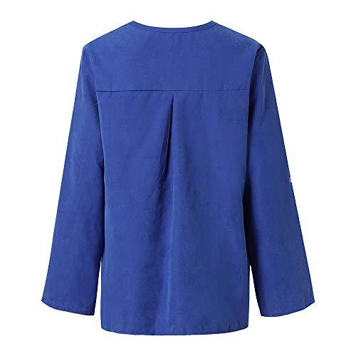 Mode Bleu Automne T Manches Dcontracte Vetements en Shirt 1 t Blouse et Sweatshirts OVERMAL Chemise Haut Top Sexy Femmes Chic Vrac Longue 18nq0w