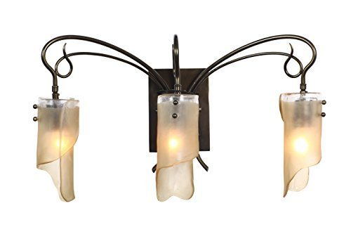 Soho 3-Light Vanity - Statue Garden Finish with Recycled Brown Tint Ice Glass Shade by Varaluz (Statues Recycled)