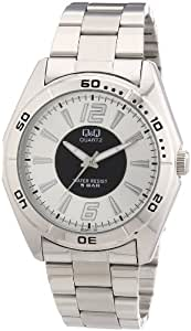 Q&Q SAN REMO Q470J201Y - Reloj analógico de cuarzo para hombre, correa de acero inoxidable color plateado