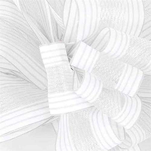Textured Sheer Center White Ribbon - 1 1/2