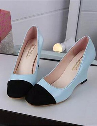 GGX/ Damenschuhe-High Heels-Büro / Kleid-Kunststoff-Keilabsatz-Wedges-Blau / Rot / Beige beige-us6.5-7 / eu37 / uk4.5-5 / cn37