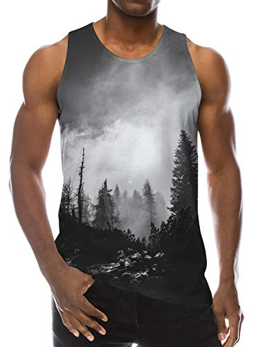 Loveternal Youth Tank Top Foggy Black White Forest Trees Summer CasualNovelty Work Out Slim Sleeveless Graphics Tees Sport Gym Big and Tall Shirt M ()