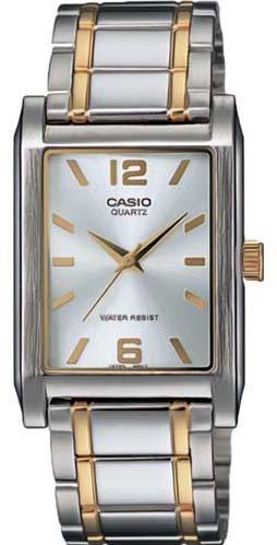 Casio #MTP123SG-7A Men's Two Tone Metal Fashion Rectangular Analog Watch