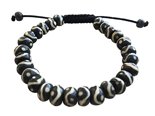 Tibetan Mala Yak Bone Dzi Bead, Om Mani Bead, Wrist Mala Bracelet Prayer Beads Mala Bracelet (Yin Yang Mala)